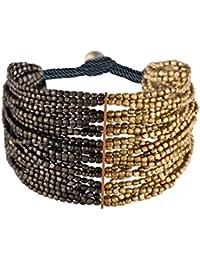 81stgeneration Gold Schwarz Tone Farbe Messing Kleine Gemischte Perlen 12 Strang Armband