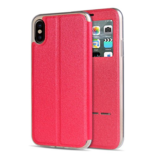 "MOONCASE iPhone X Flip Cover, [Window View Style] PU Cuir Étuis Case Built-in Support TPU Antidérapant Housse de Protection pour iPhone X 5.8"" Or Rose rouge"