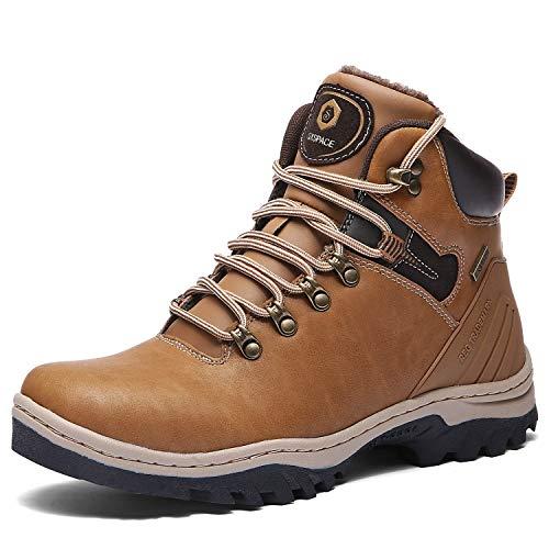 SIXSPACE Hombre Botines Zapatos Botas Nieve Invierno Botas Impermeables Fur Forro Aire Libre Boots,Amarillo 46 EU