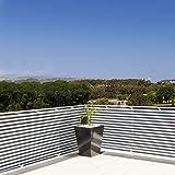 Brise vue casa pura pare vue canisse | balcon, jardin | occultant, résistant aux intempéries | 90x500cm - gris et blanc
