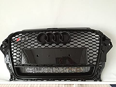 GBT-Vdubz 2013-15 AUDI RS3 QUATTRO FRONT GRILLE GRILL ALL BLACK RS3 S3 A3 NEW! GB99