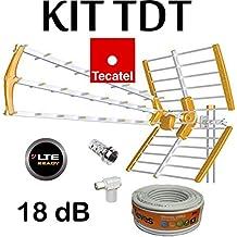 KIT ANTENA TECATEL BKM-18 NARANJA + ROLLO CABLE TELEVES DE 20MT + Y CONECTORES