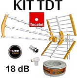 KIT ANTENA TECATEL BKM-18 NARANJA + ROLLO CABLE TELEVES DE 20MT + Y...