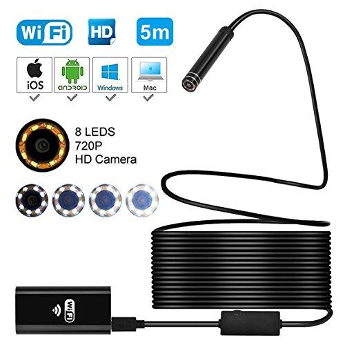 Wifi kabellos Endoskop,720P und 2.0 Megapixel HD Wasserdichte Borescope Inspektionskamera mit 8 LED,Objektiv Schlange Kamera für Android und IOS Smartphone,Mac,Wnidows,Tablet,PC(5 Meter)
