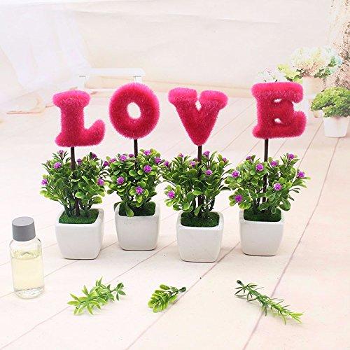 GBHNJ Künstliche Blumen Geschenk Gala Couchtisch Simulation Schreibtisch Topfpflanzen Dekoration Pflanzen Rose Rot Weiß Square Vase (Square-geschenk-korb)
