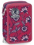 Astuccio 3 Zip Invicta Primerose, Rosa, Con materiale scolastico: 18 pennarelli Giotto Turbo Color, 18 matite Giotto Laccato...