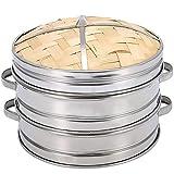 TOOGOO 2 Tier 20Cm Cesta De De Bambú con Tapa Utensilios De Cocina Cocina para Bola De Masa Hervida Pez Arroz Vegetal Pastas Cesto De Cocción Al De Calefacción Chino