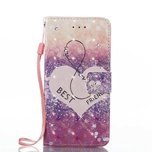 Custodia iPhone 7, iPhone 7 Cover, ikasus® iPhone 7 Custodia Cover [PU Leather] [Shock-Absorption] Fiore Dreamcatcher Modello Colorato verniciato con Bling Gitter scintillante Strass Brillante Protett Best Friends