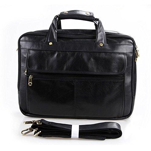 Everdoss Herren echt Rindleder Businesstasche Handtasche Umhängetasche Schwarz