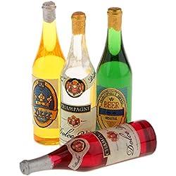 F Fityle 4pcs Maison De Poupées 1:12 Mini Bière Bouteilles De Vin De Champagne Boutique Épicerie Décor