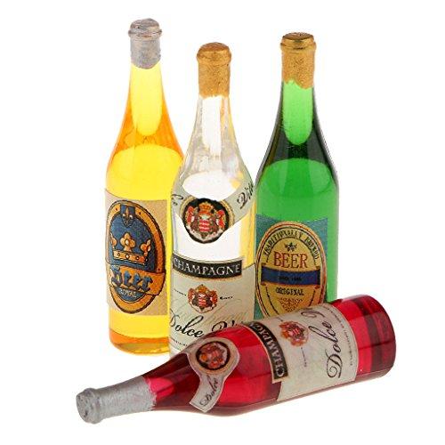 Sharplace 4 er / Set Puppenhaus Miniatur Weinflaschen aus Kunststoff für 1/12 Puppenstube Küche Deko -