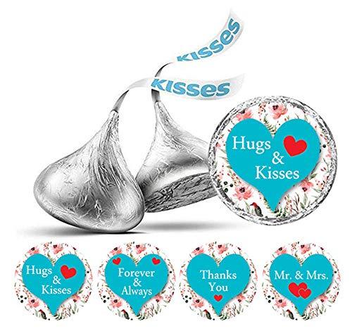 kung mit 190 Stück DIY Heart & Blumenhochzeits-Aufkleber Hershey Kisses Labels-Türkis-Blau ()