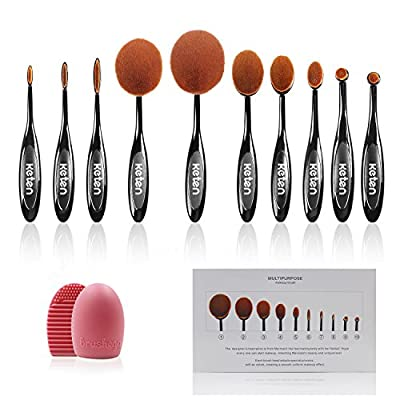 Keten Oval Makeup Brush Set 10 PCS Soft Toothbrush Foundation Brushes Concealer Cosmetics Powder Brush Make Up Tool Set