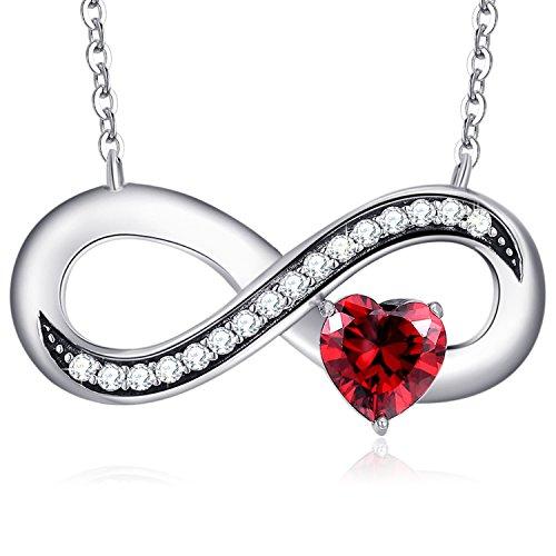 Mega creative jewelry infinito collana 925 argento pendente cuore rosso cristalli swarovski regalo donna amore gioielli