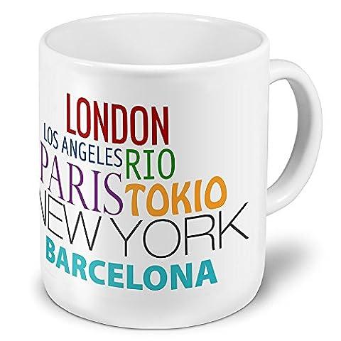 XXL Jumbo-Städtetasse Barcelona - XXL Jumbotasse mit Design Famous Cities of the World - Städte-Tasse, Städte-Krug, Becher, Mug
