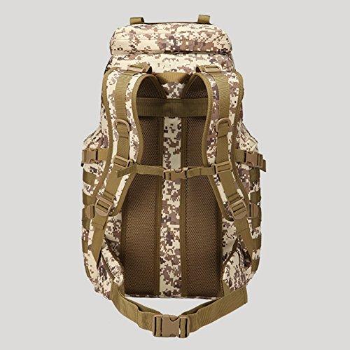 50 L Double Shoulder Bag camouflage outdoor Bergsteigen große wasserdichte Tasche für Männer und Frauen auf Reisen 60 * 40 * 30 cm, Wüste Digital Schwarz