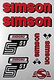 Aufkleber-Set Simson S51 Enduro rot Seitendeckel Tank BJ-Handel