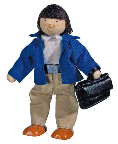 Goki 51725 - Biegepuppe Vater für Puppenhaus Holz