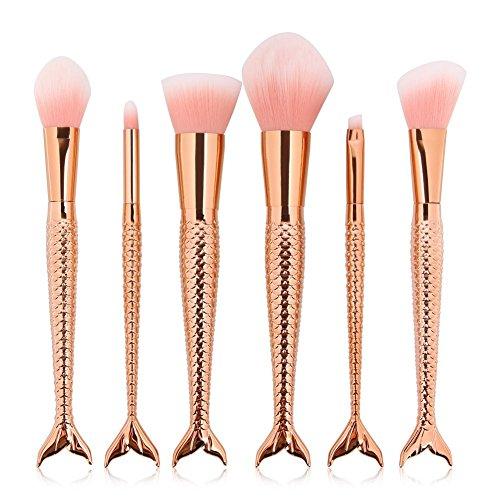 Pinceaux Maquillage, Eouine 6 Pièces Sirène Makeup Brushes Visage Maquillage Brosse Professionnel Kit de beauté Outils pour Sourcils, Yeux, Joues (Or rose)