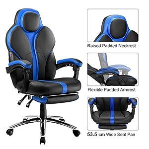 51 Xi9LmNBL. SS300  - LANGRIA-Silla-Gaming-de-Ordenador-para-Gamers-Especial-Videojuegos-Ergonmica-y-Ajustable-Tapizada-de-Piel-Falsa-Acolchada-con-Reposapis-Reposabrazos-y-Reposacabezas-Modelo-Cobra-Negro-y-Azul