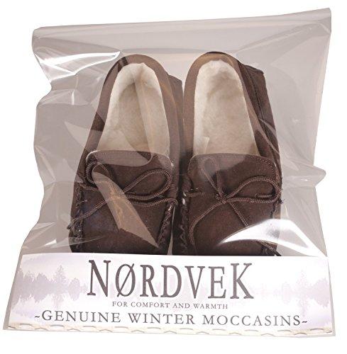 Nordvek - Pantoufles doublées style mocassins - homme - daim/laine - # 423-100 Chocolat