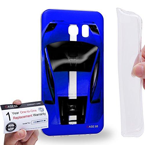 Case88 [Samsung Galaxy S7 Edge] Gel TPU Hülle / Schutzhülle & Garantiekarte - Art Design Blue Sport Car Art1300