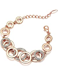 Yutii Circle Links Rose Gold Crystals Bracelet For Girls And Women