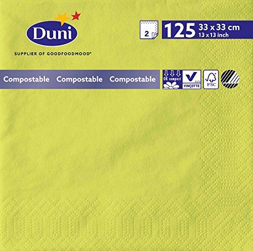 Duni 1600942lagig Tissue Servietten, 33cm x 33cm, kiwi (2000Stück) - Wirtschaft Tissue-papier