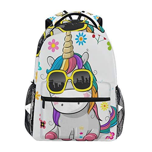Ahomy Schulrucksack Buchtasche für Teenager Mädchen Jungen, niedliches Einhorn mit Sonnenbrille, Reiserucksack für Damen und Herren