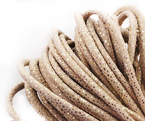 1yrd 0,9 m Beige Elfenbein Schlange-Haut-Gold-Sekt-Point-PU-Faux-Leder-Wildleder Schnur Genäht Rundschnur Boho-Stil Armband Halskette 8mm