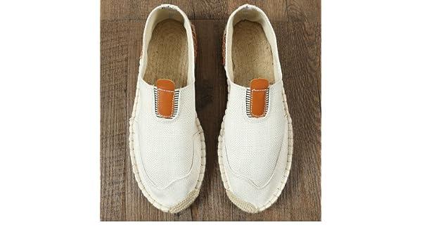 YFF Rein handgemachte Sommer Gras - canvas Schuhe Freizeit Schuhe Leinen männlichen mesh Fischer Schuhe, 45, T003 beige