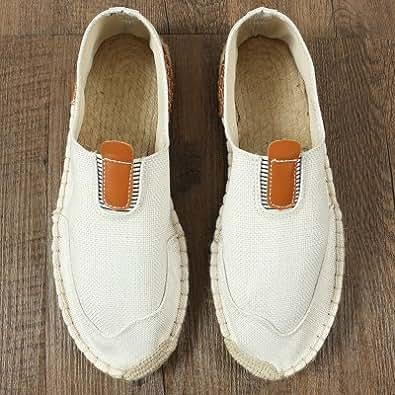 YFF Rein handgemachte Sommer Gras - canvas Schuhe Freizeit Schuhe Leinen männlichen mesh Fischer Schuhe, 44, T003 weiß