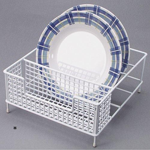 Geschirr Ständer Abtropfgestell aus lackiertem Stahl mit Gummifüßen :Geschirrständer Abtropfkorb Abtropfgitter Geschirrkorb Küche Korb
