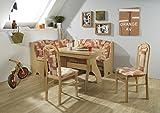 Truhen-Eckbankgruppe Buche Natur Dekor; Eckbank, 2 Stühle und Winkelwangentisch, Bezug: terracotta gemustert, variabel aufbaubar