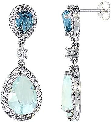 14ct oro blanco aguamarina Natural y Londres azul pendientes de lágrima topacio blanco Zafiro y diamantes