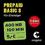congstar Prepaid Basic S Paket [SIM, Micro-SIM und Nano-SIM] – Das Prepaid-Paket für Einsteiger in Bester D-Netz-Qualität