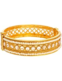 JFL - Gorgeous One Gram Gold Plated Diamond & Pearl Designer Bangle For Girl And Women. (Openable)
