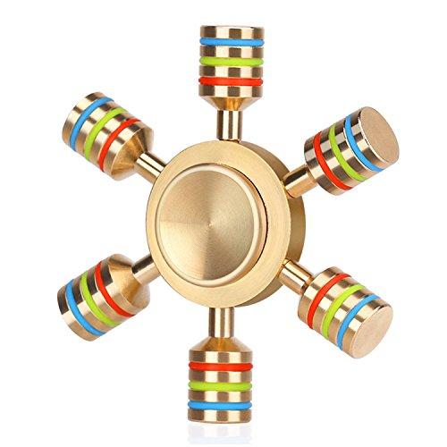 Fidget Spinners -12 Sided Cubes Rainbow Star Cubes – EDC Hand Focus Stress Toy – UK Seller (Metal – 6 Barrel)