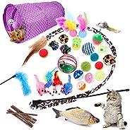 Allmart AC033108 28 Pcs Cat Toys Kitten Toys Assorted, Cat Tunnel Catnip Fish Feather Teaser Wand Fish Fluffy