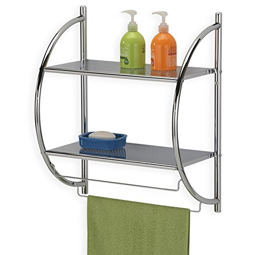Badregal Wandregal Wand- Handtuchhalter JANINE, 2 Ablagen, aus Metall gefertigt, hochwertig verchromt / chrom