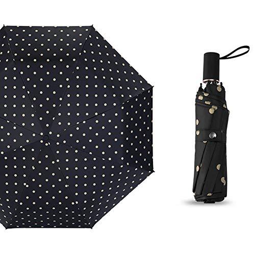 JiMany Umbrella Parasol 8 Bone, Tragbarer, Kreativer Fashion Wave, Unisex-Regenschirm in Sonniger Und Regenzeit,Black