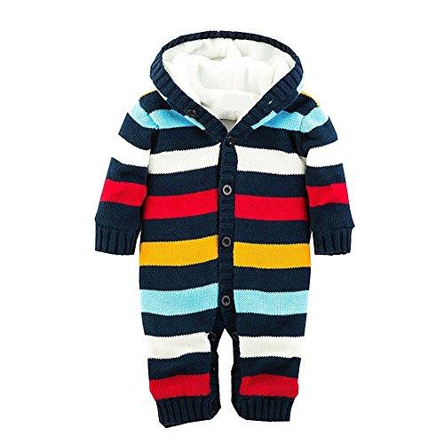 Blaue Mikrofaser-pullover (Minetom Baby Jungen Mädchen Herbst Winter Gestrickte Overalls Pullover Streifenmuster Rompers Mit Kapuze Blau 69-74)