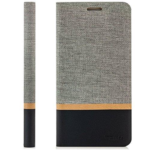 zanasta Designs Tasche Huawei G Play Mini Hülle Flip Case Schutzhülle Handytasche mit Kartenfach Grau