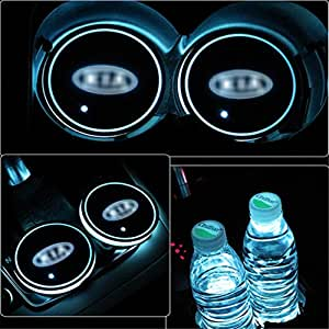 OnWheel Car Interior LED Coaster Logo Cup Holder 7 Colors Changing Atmosphere Lamp for Kia - Set of 2 pcs