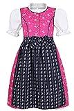 Mädchen Coala Mädchen Dirndl geblümt pink blau mit Bluse, Pink/Blau, 122/128