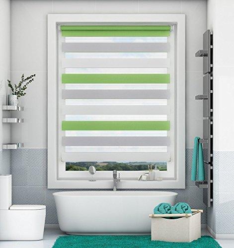 Doppelrollo Klemmfix ohne Bohren Duo Rollo mit Klämmträgern Sicht und Sonnenschutz für Fenster und Türen Grün-Grau-Weiß 40x150cm