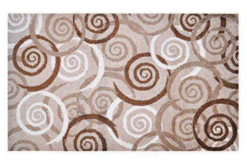 Teppich Weißen Läufer Festen (LifeStyle-Mat 100376 Spiralen, rutschfeste und waschbare Fußmatte, ideal für den Eingang, die Garderobe oder Küche, 67 x 110 cm, braun / beige / weiß)