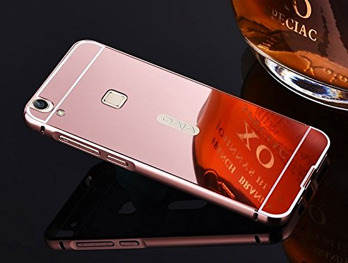 G M Brothers Luxury Mirror Aluminium Metal Bumper Back Cover Case For VIVO V3 MAX (Rose Gold)