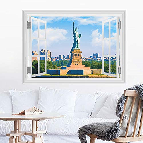 United States New York Statue Of Liberty Wall Stickers Home Decor Living Room 3D Window Scenery Wall Decals Pvc Poster Diy Mural