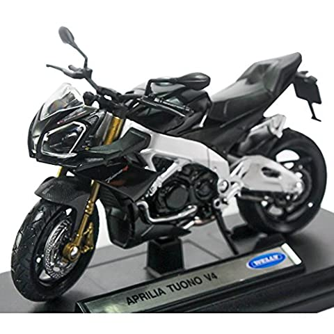 Welly 1:18 Die-cast Aprilia Tuono V4 Motorcycle Black Color Model Collection